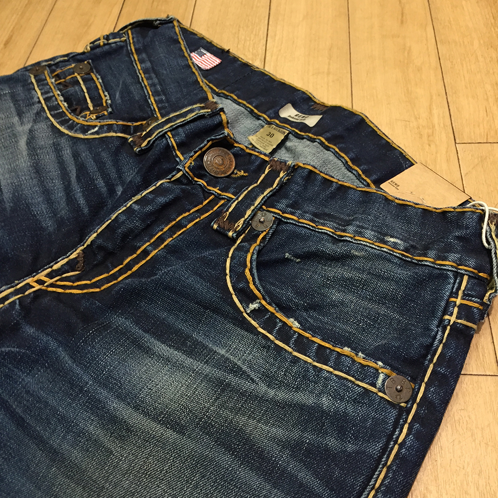 ccfcc9f0b Lock seams and thick vintage contrasting stitching starts off the iconic True  Religion look