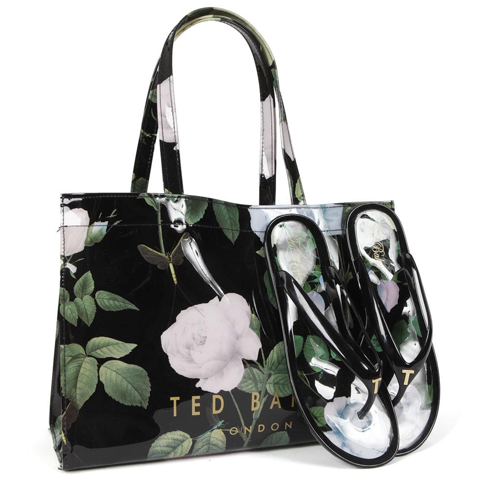 e1f124462 Ted Baker Womens Black Vickay Distinguishing Rose Flip Flop Shopper Set