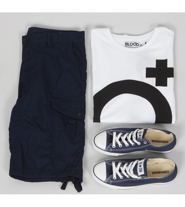 Diesel navy cargo shorts, Blood Brother t-shirts and Converse Ox low Trainers at masdings.com