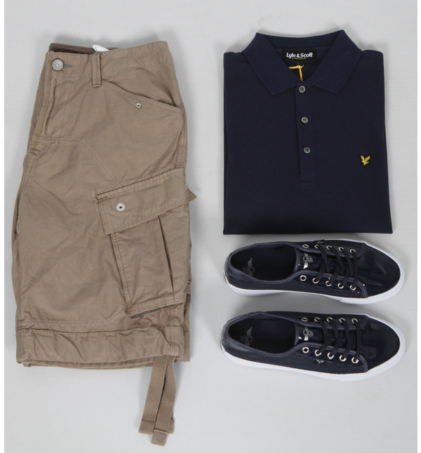 G-Star Rovic short, Lyle and Scott navy polo and Creative Recreation trainers at masdings.com