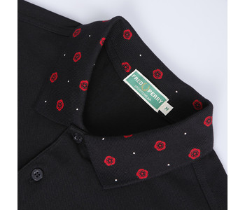 Fred Perry Twisted Wheel Rose Print Collar polo shirt at Masdings.com