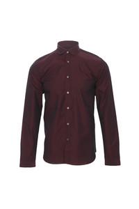 Pretty Green Burgundy penny collar shirt at masdings.com