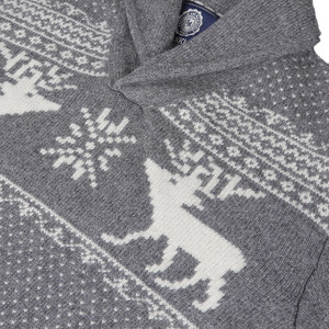 Franklin and Marshall Grey knitted pattern shawl jumper