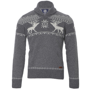Franklin and Marshall Grey knitted pattern shawl jumper at masdings.com