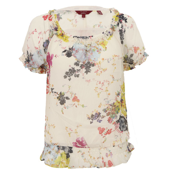 Ted Baker Womens Off-white Ted Baker Kamea Summer Bloom Print Frill Top main image