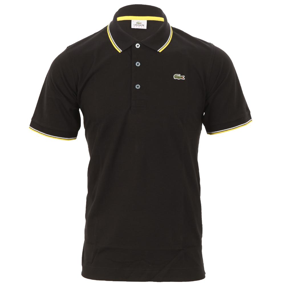 239f70cae013e7 Lacoste Sport Mens Black Lacoste YH7900 Noir Tipped Polo Shirt