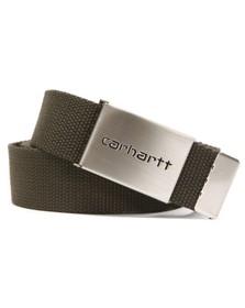 Carhartt Mens Green Clip Belt Chrome