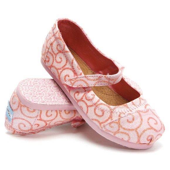 Toms Girls Pink Toms Swirl Pattern Mary Jane Shoe main image