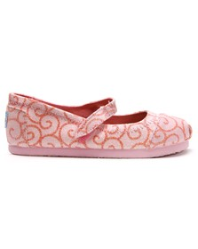 Toms Girls Pink Toms Swirl Pattern Mary Jane Shoe