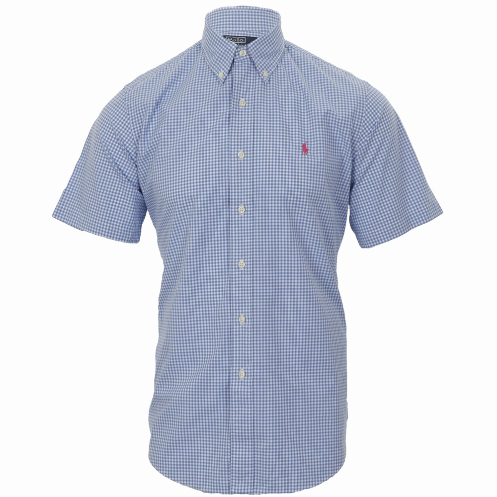 a1e65a5b1 Polo Ralph Lauren Ralph Lauren Custom Fit Light Blue White Fine Check Shirt