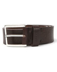 Gant Mens Brown  Heavy Dark Brown Leather Belt