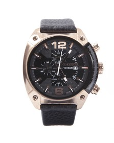 Diesel Mens Black Diesel DZ4297 Overflow Leather Strap Chrono Watch