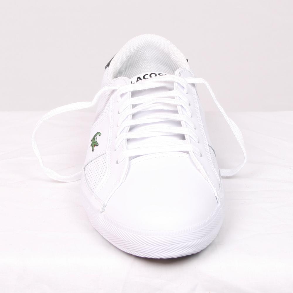 3497b7feda039 Lacoste Mens White Lacoste White Black Avant ET SPM Leather Trainer main  image. Loading zoom