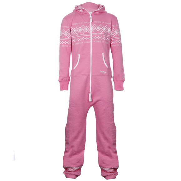 Onepiece Lusekofte Traditional Pink White Onesie