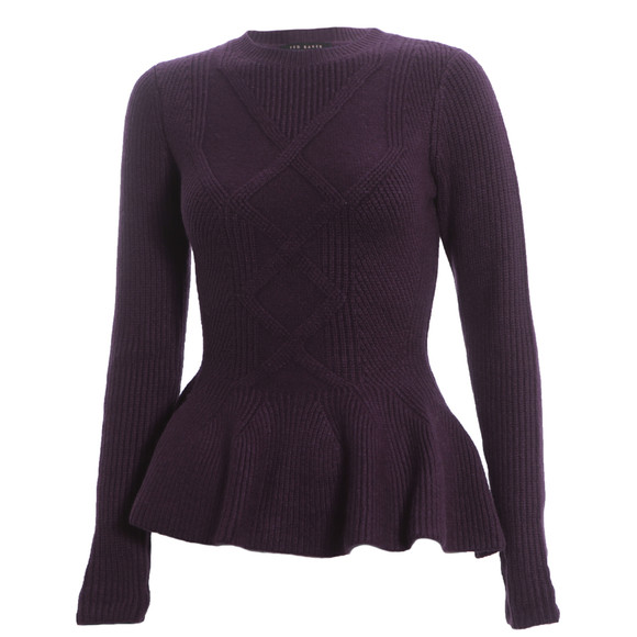 Ted Baker Grape Ohavia Peplum Detail Sweater