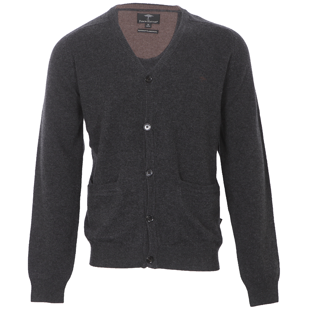 Fynch Hatton Charcoal Button Cardigan   Masdings 3496f95d452c