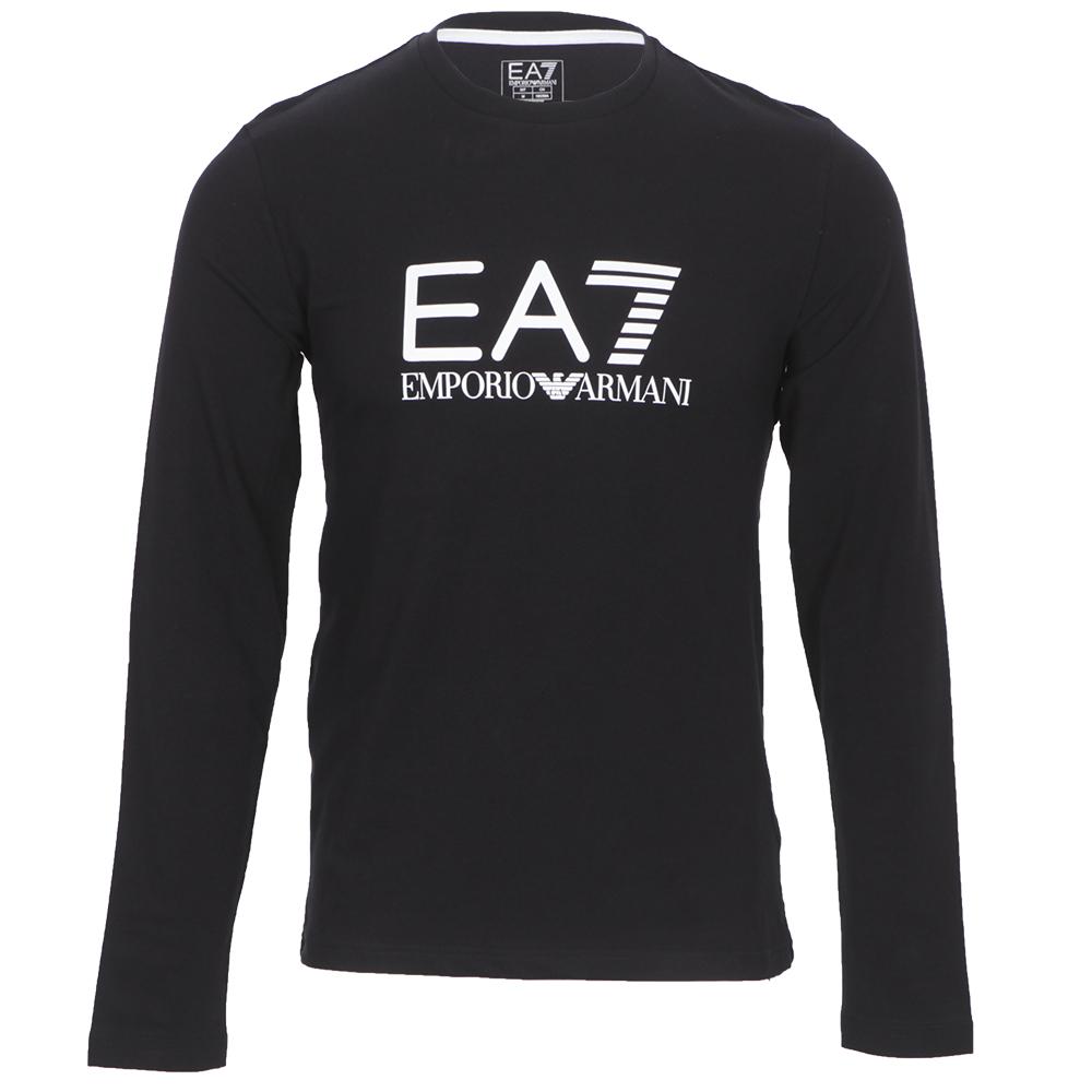 6141ef8c EA7 Emporio Armani Mens Black EA7 Emporio Armani Train Black Big Logo Long  Sleeve T-Shirt