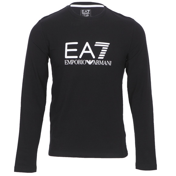 938c55301 EA7 Emporio Armani Mens Black EA7 Emporio Armani Train Black Big Logo Long Sleeve  T-