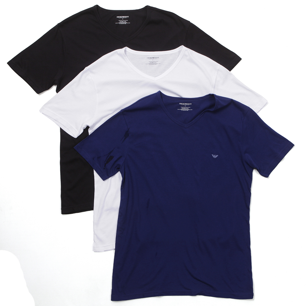 price reduced separation shoes super specials Mens Multicoloured Armani Stretch Small Logo 3 Pack V Neck T-Shirt