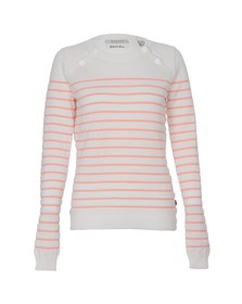 Maison Scotch Womens White Sailor Inspired Knitted Top