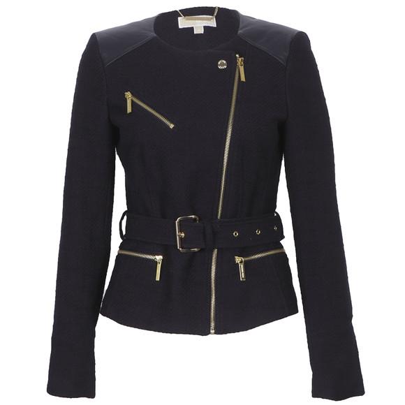 michael kors tweed moto jacket with leather