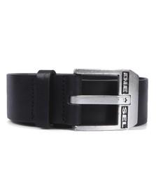 Diesel Mens Black Diesel Bluestar Black and Silver Belt