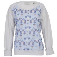 maison scotch sweat with sheer printed front