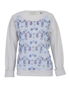Maison Scotch Womens Off-white Sweat With Sheer Printed Front