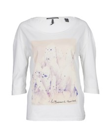 Maison Scotch Womens Off-white 3/4 Sleeve Photo Print Top