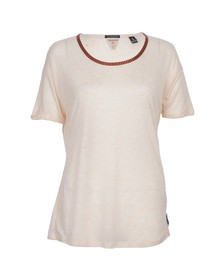 Maison Scotch Womens Pink Neppy Tee With Embroidery