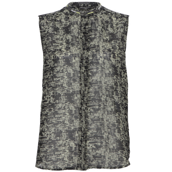maison scotch sheer printed sleeve top