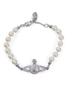 Vivienne Westwood Womens Silver Mini Bas Relief Pearl Bracelet