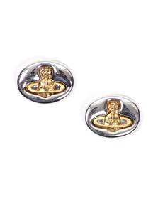 Vivienne Westwood Womens Silver Embossed Logo Stud Earring