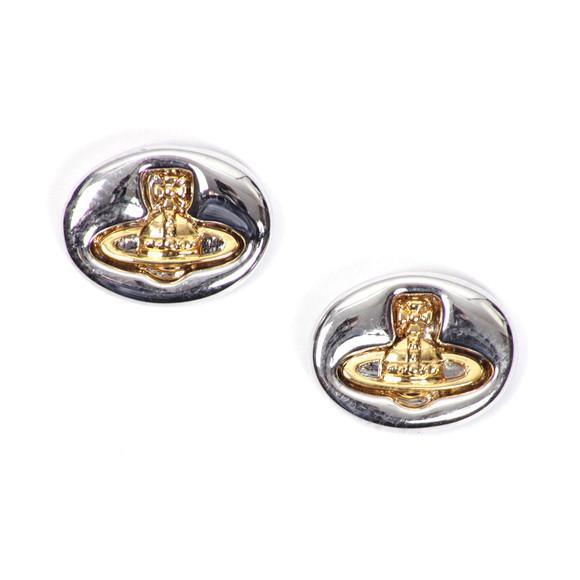 Vivienne Westwood Womens Silver Embossed Logo Stud Earring main image