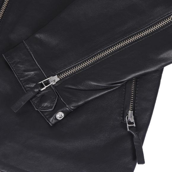 Pretty Green Mens Black Addison Leather Biker Jacket main image