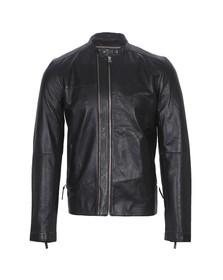 Pretty Green Mens Black Addison Leather Biker Jacket