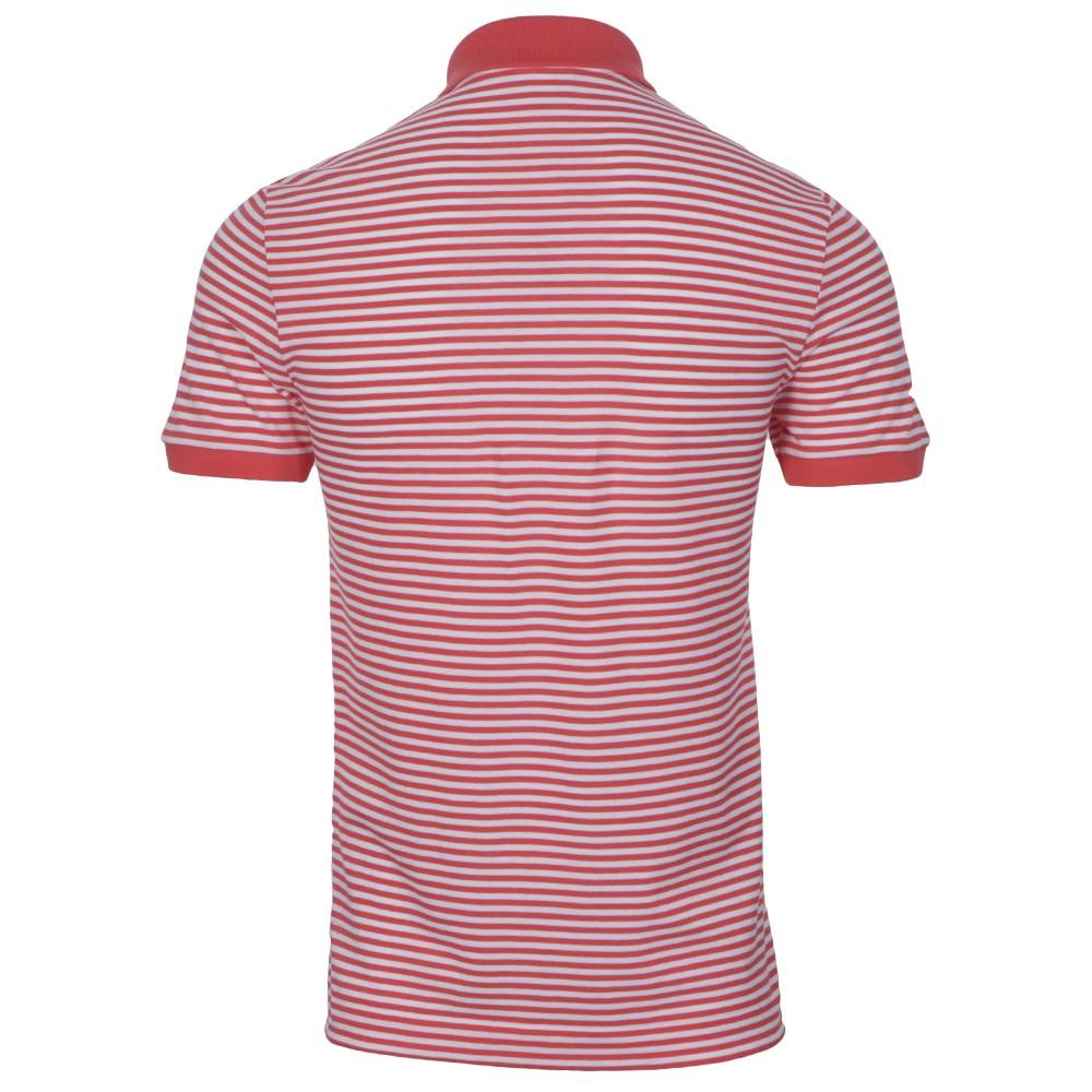 74ff4ffc Lacoste Mens White Lacoste PH8406 Santal Ribbed Collar Striped Polo