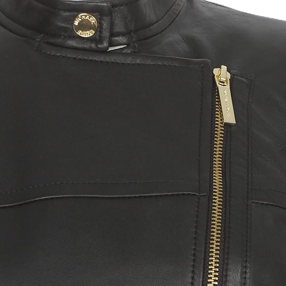 Michael Kors Womens Black Leather Moto Jacket main image