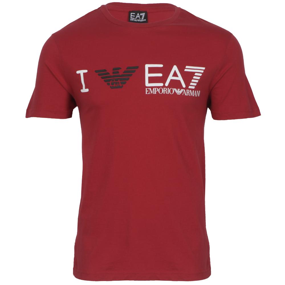 01d4c66f EA7 Emporio Armani Mens Red EA7 Emporio Armani Red Train Graphic Eagle T- Shirt