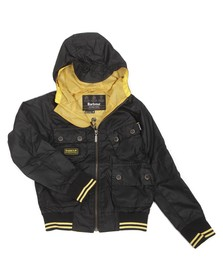 Barbour International Boys Black Barbour Boys Glanton Waxed Jacket