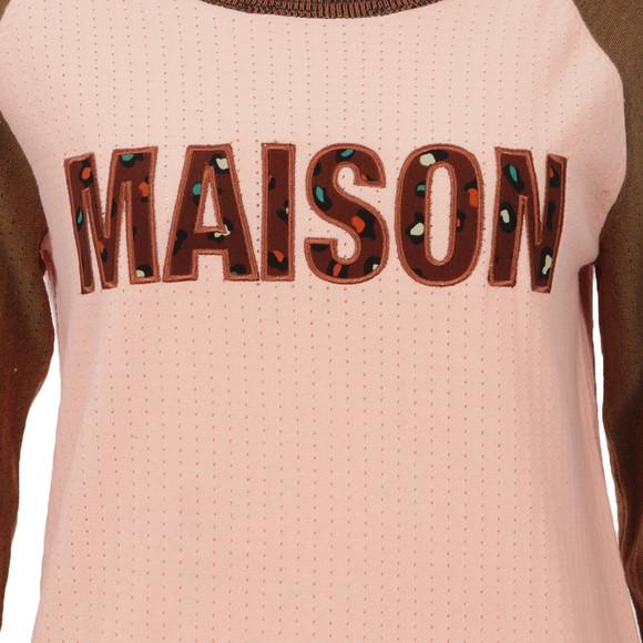 Maison Scotch Womens Pink Baseball Inspired Knitted Top main image