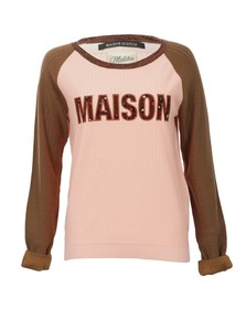 Maison Scotch Womens Pink Baseball Inspired Knitted Top