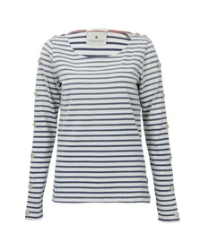 Maison Scotch Womens Blue Breton Stripe Top