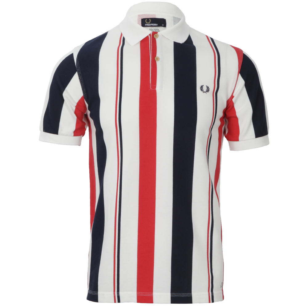 Mens Red Fred Perry Fire Red Tipped Seaside Polo Shirt