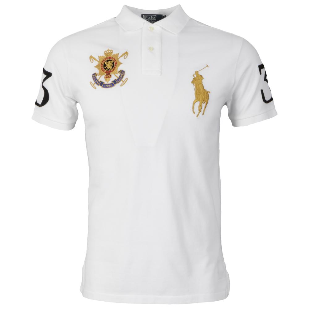 7b7952564d9d Polo Ralph Lauren Mens White Ralph Lauren White Blackwatch Team Polo Shirt