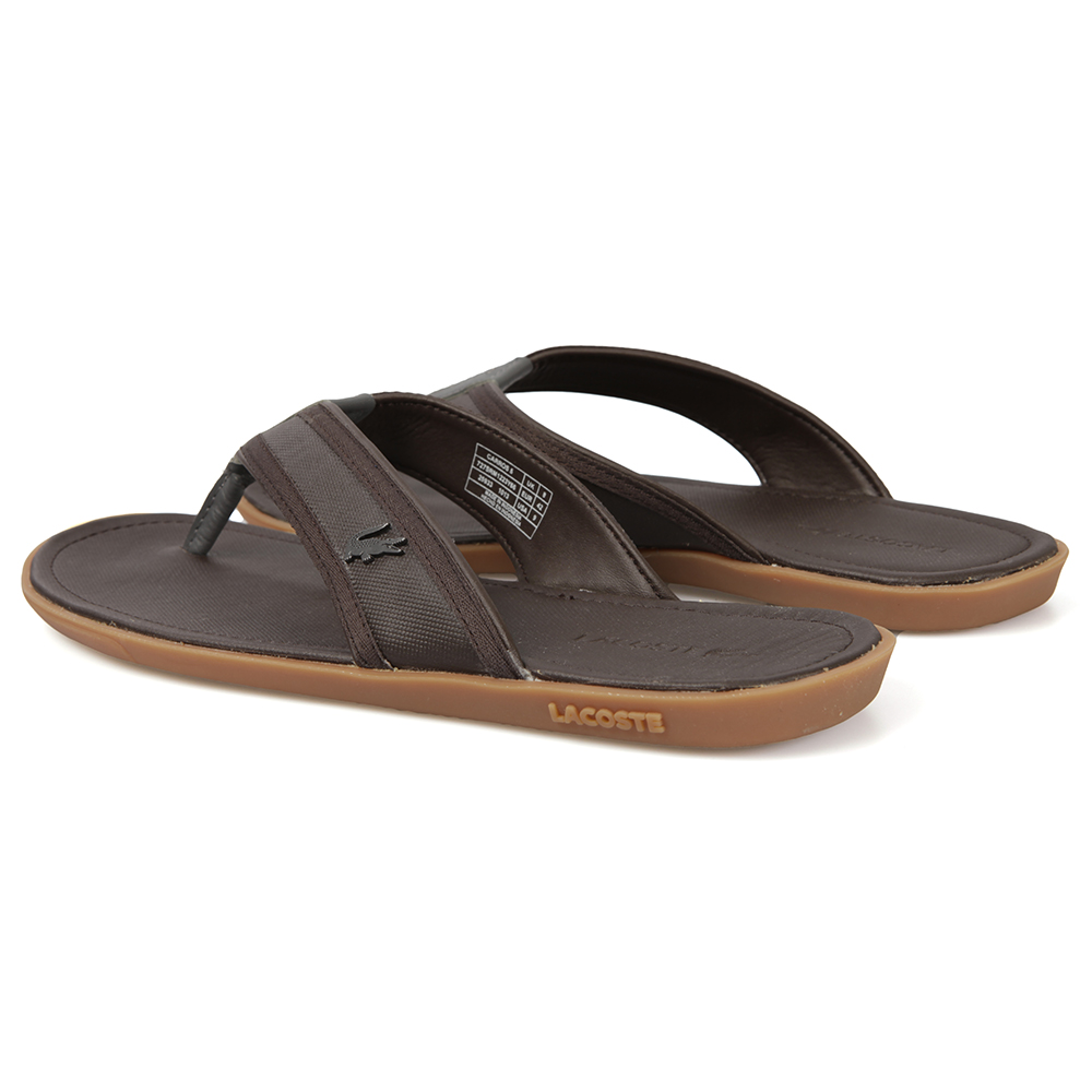 cc39ea278 Lacoste Brown Leather Flip Flop Carros 5 main image