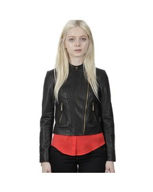 Michael Kors Womens Black Leather Moto Jacket