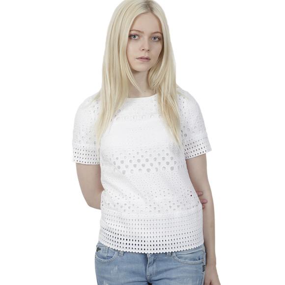 Michael Kors Womens White Eyelet Structured T Shirt main image