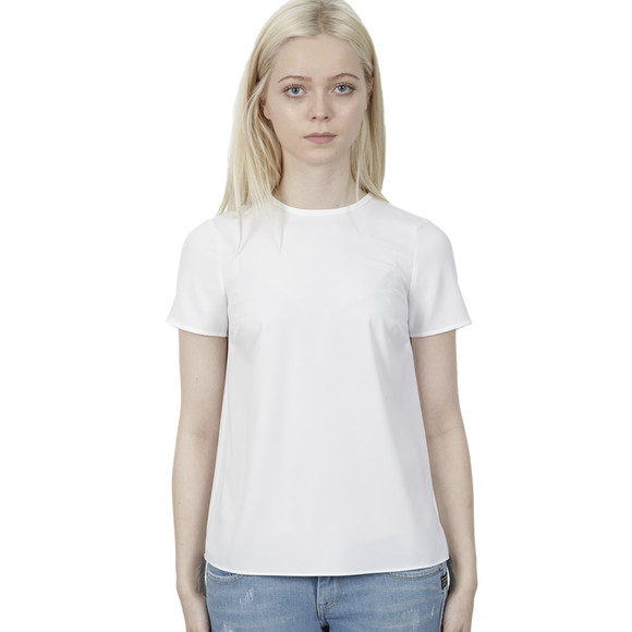 Michael Kors Womens White Pleat Back T Shirt main image