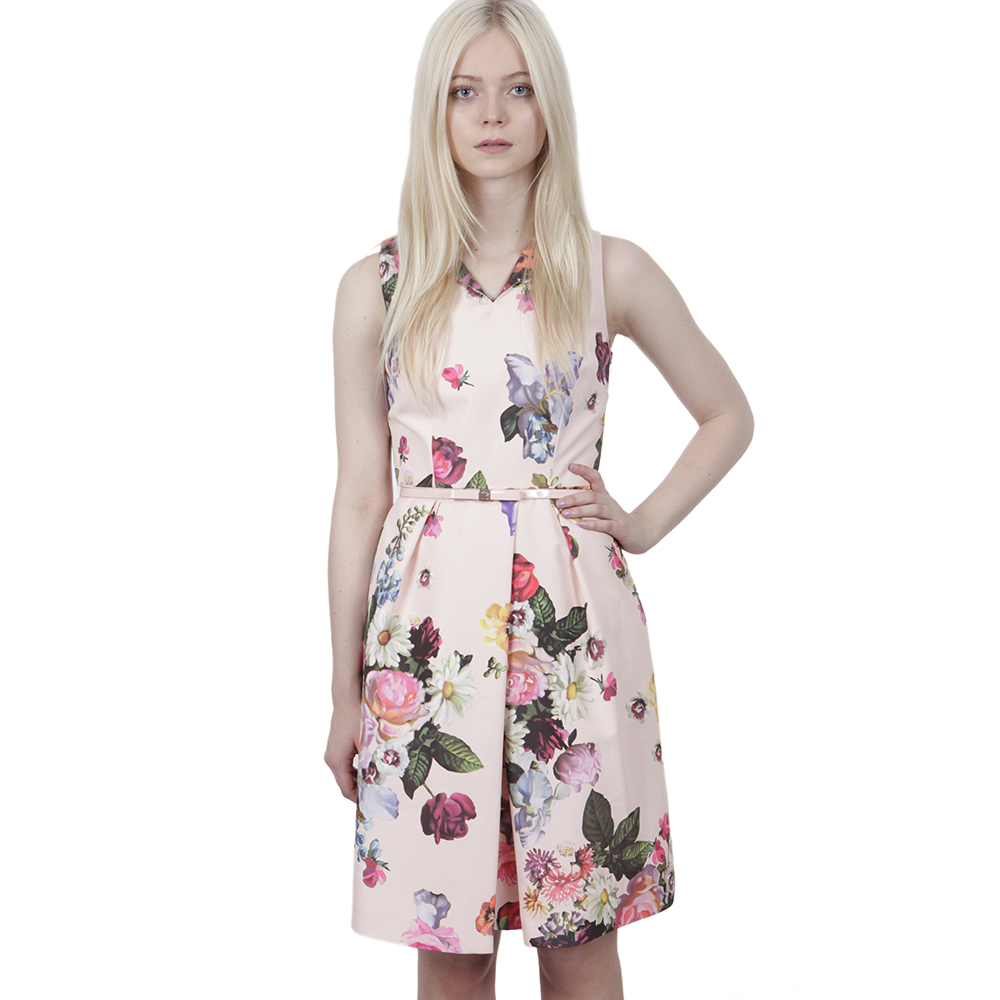06abe6746fc917 Ted Baker Womens Pink Ted Baker Deavon Nude Oil Painting Print Dress main  image. Loading zoom